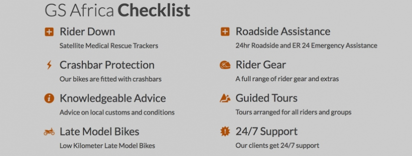GS Africa Motorcycle Rental Checklist